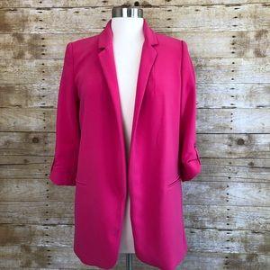 Zara Basic Long Hot Pink Blazer